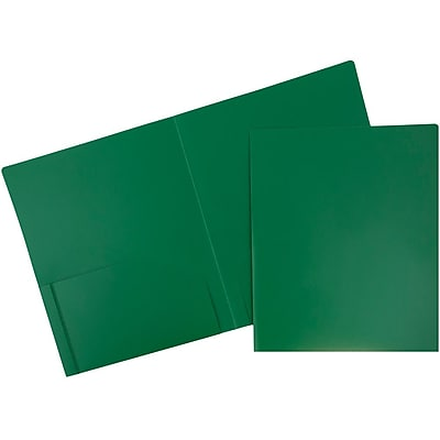 JAM Paper® Plastic Heavy Duty Two Pocket Folders, Green, 6/pack (383HGRD)