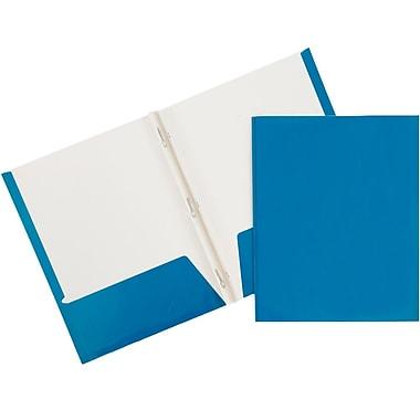 JAM PaperMD – Chemises d'école à 2 pochettes plastifiées et lustrées avec attaches, bleu, 25/paquet