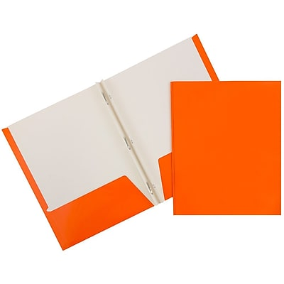 JAM Paper® Glossy Two Pocket Clasp School Folders with Prong Clip Fasteners, Orange, 6/Pack) (385GCORA)