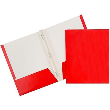 JAM PaperMD – Chemises d'école à 2 pochettes plastifiées et lustrées avec attaches, rouge, 25/paquet