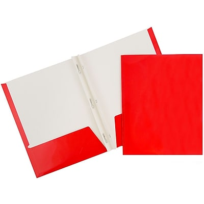 JAM Paper® 2 Pocket Laminated Glossy School Folders with Tang Fastener Clips, Red, 25/Pack (385GCRED)