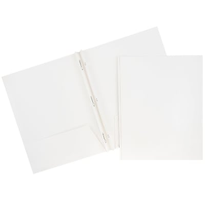 JAM Paper® 2 Pocket Laminated Glossy School Folders with Tang Fastener Clips, White, 25/Pack (385GCWHD)