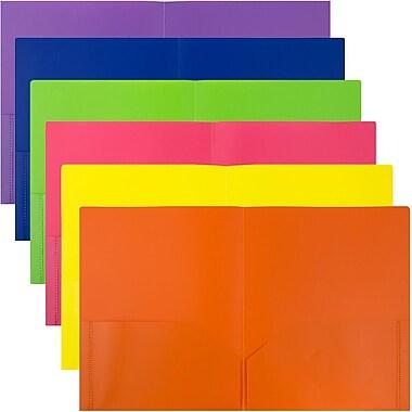 JAM PaperMD – Chemises Eco en plastique à 2 pochettes, couleurs primaires variées, 6/paquet