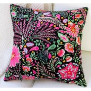 Artisan Pillows Peackock Garden Flowers Modern Cottage Floral Indoor Cotton Throw Pillow