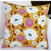 Artisan Pillows Bungalow Dahlia Flowers Modern Indoor Cotton Throw Pillow; Honey Orange