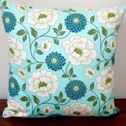 Artisan Pillows Bungalow Dahlia Flowers Modern Indoor Cotton Throw Pillow; Forest Blue