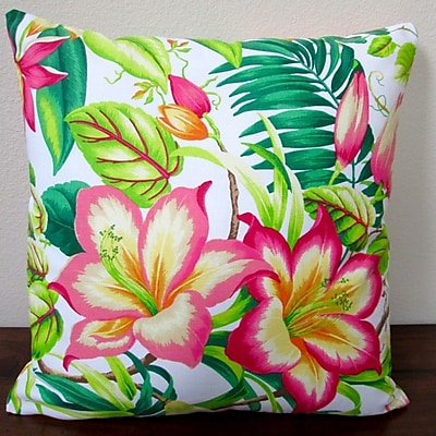 Artisan Pillows Botanical Glow Tangelo Tropical Hibiscus Indoor Cotton Throw Pillow