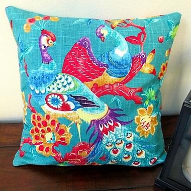 Artisan Pillows Vintage Peacock in Modern Asian Cottage Indoor Cotton Throw Pillow