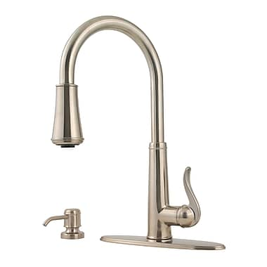 Pfister Ashfield Pull Down Single Handle Kitchen Faucet w/ Soap Dispenser; Brushed Nickel