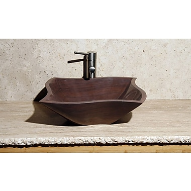 Allstone Group Curve Stone Rectangular Vessel Bathroom Sink; Mocha Cream Marble / High Sheen Polish