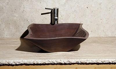Allstone Group Curve Stone Rectangular Vessel Bathroom Sink; Mocha Cream Marble / High Sheen Polish
