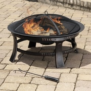 Pleasant Hearth Brant Wood Burning Circular Fire Pit in Rubbed Bronze