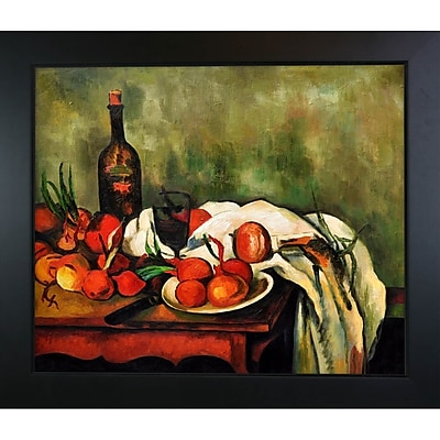 Tori Home Still Life w/ Onions and Bottle by Paul Cezanne Framed Painting