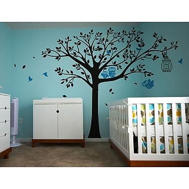 Pop Decors Nursery Tree w/ Cute Owls Wall Decal; Black and Blue