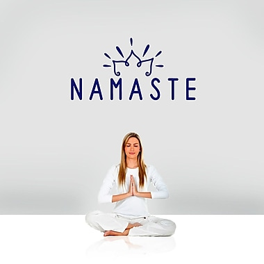 SweetumsWallDecals Namaste Wall Decal; Navy
