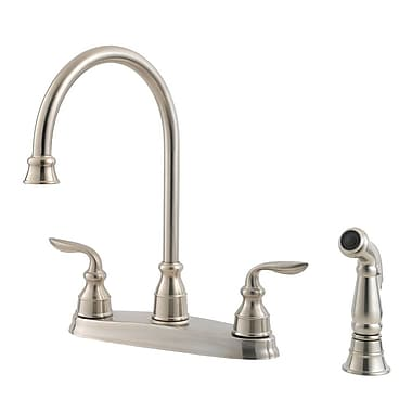 Pfister Avalon Double Handle Deck Mounted Kitchen Faucet w/ Side Spray; Stainless Steel