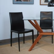 Wildon Home   Pavia Genuine Leather Upholstered Dining Chair (Set of 2); Black