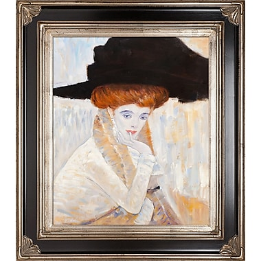 Tori Home Black Feather Hat by Gustav Klimt Framed Painting