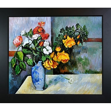 Tori Home Still Life Flowers in Vase by Paul Cezanne Framed Painting