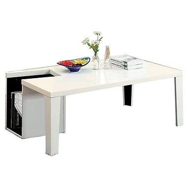 Hokku Designs Zedd Coffee Table w/ Magazine Rack; White