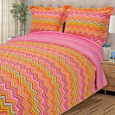 Simple Luxury Zig Zag 2 Piece Reversible Quilt Set; Orange