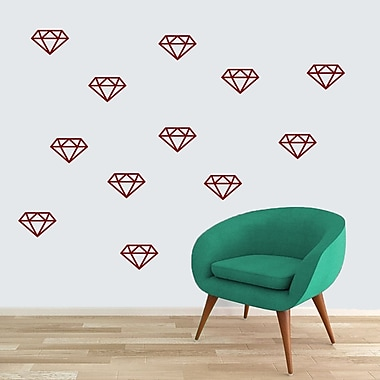 SweetumsWallDecals Diamonds Wall Decal (Set of 12); Cranberry