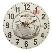 Creative Motion 13.38'' Wall Clock in Cappuccino and Coffee Cup Design