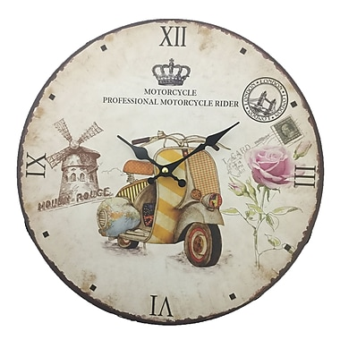 Creative Motion 13.38'' Wall Clock in Motorcycle Facing Left