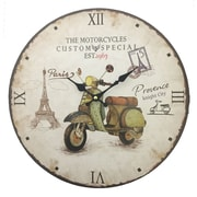 Creative Motion 13.38'' Wall Clock in Motorcycle Facing Right