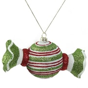 Northlight Merry and Bright Glitter Striped Shatterproof Christmas Candy Ornament