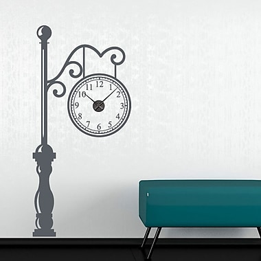 Style and Apply Antic Train Station Wall Clock Wall Decal; Dark Gray