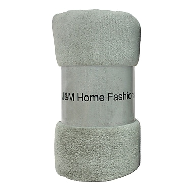 J&M Home Fashions Solid Plush Fleece Throw; Oil Green