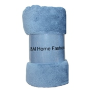 J&M Home Fashions Solid Plush Fleece Throw; Copen Blue