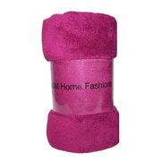 J&M Home Fashions Solid Plush Fleece Throw; Magenta Purple