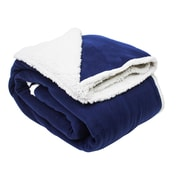 J&M Home Fashions Solid Polar Front/Sherpa Back Fleece Blanket; Patriot Blue