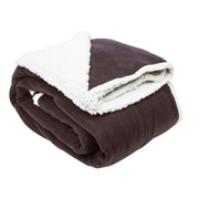 J&M Home Fashions Solid Polar Front/Sherpa Back Fleece Blanket; Chocolate