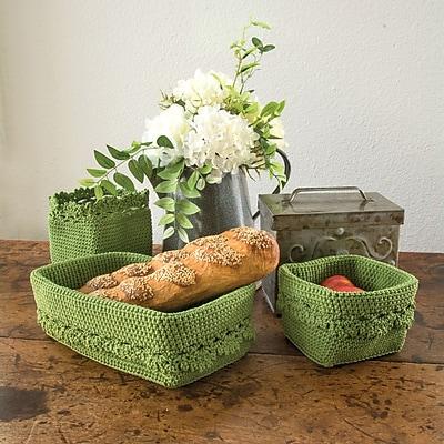 Heritage Lace Mode Crochet Trim Basket; Sage