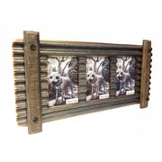 Wilco Home Smokey Cabin Corrugated Tin/Wood Wall Triple Picture Frame