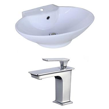 American Imaginations Oval Vessel Bathroom Sink w/ Overflow