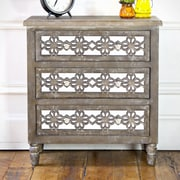 River of Goods Wooden 3 Drawer Mirrored Cabinet