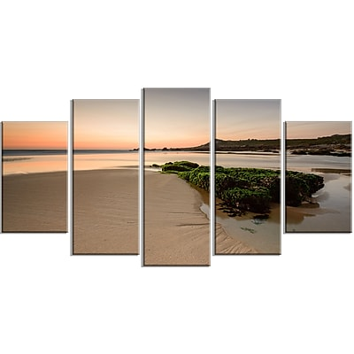DesignArt 'Beach at Sunset in Spain' 5 Piece Photographic Print on Wrapped Canvas Set