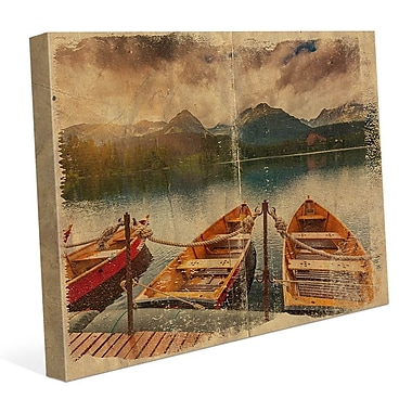 Click Wall Art 'Boat Trio Parchement' Graphic Art on Wrapped Canvas; 11'' H x 14'' W x 1.5'' D