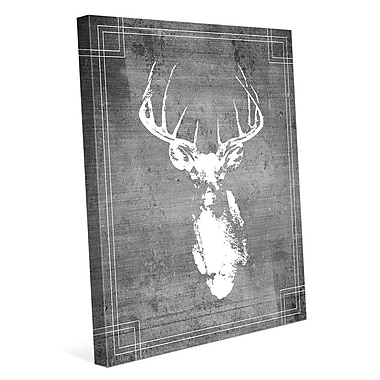 Click Wall Art 'Buck Drawing' Graphic Art on Wrapped Canvas; 10'' H x 8'' W x 0.75'' D