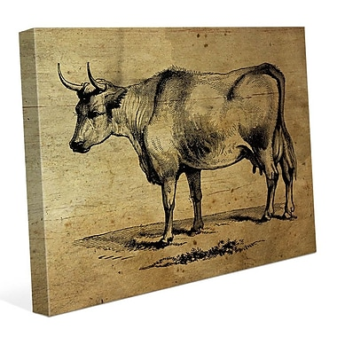Click Wall Art 'Bull Ink Drawing Wood' Graphic Art on Wrapped Canvas; 20'' H x 24'' W x 1.5'' D