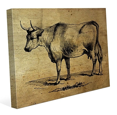 Click Wall Art 'Bull Ink Drawing Wood' Graphic Art on Wrapped Canvas; 16'' H x 20'' W x 1.5'' D