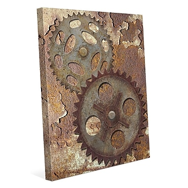 Click Wall Art 'Double Gear' Graphic Art on Wrapped Canvas /Rust; 14'' H x 11'' W x 1.5'' D