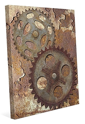 Click Wall Art 'Double Gear' Graphic Art on Wrapped Canvas /Rust; 36'' H x 24'' W x 1.5'' D