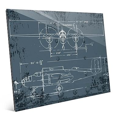 Click Wall Art 'Airplane Blueprint' Graphic Art; 20'' H x 24'' W x 1'' D