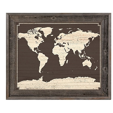 Click Wall Art 'World Map on Dark Wood' Framed Graphic Art; 19.5'' H x 23.5'' W x 1'' D