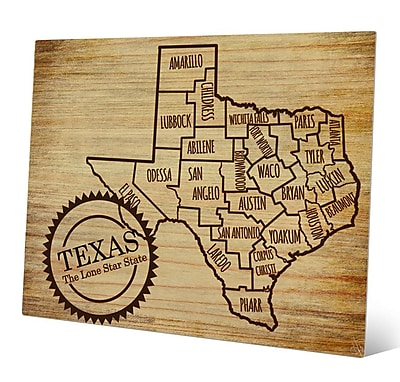 Click Wall Art 'The Lone Star State' Graphic Art; 20'' H x 24'' W x 1'' D